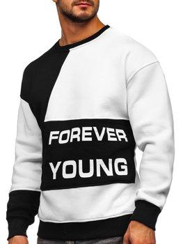 Čierna/biela pánska mikina bez kapucne s potlačou Forever Young Bolf 0002