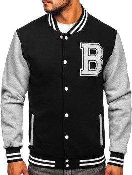 Čierna pánska baseballová mikina/bunda bez kapucne s potlačou Bolf 10