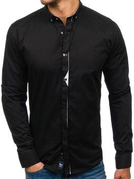 Čierna pánska elegantá košeľa s dlhými rukávmi BOLF 7711