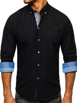 Čierna pánska elegantá košeľa s dlhými rukávmi BOLF 8838