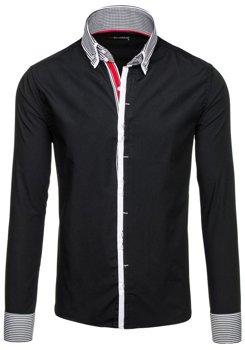 Čierna pánska elegantná košeľa s dlhými rukávmi BOLF 5727