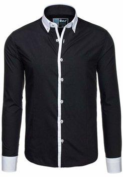Čierna pánska elegantná košeľa s dlhými rukávmi BOLF 5798 758db76d11f