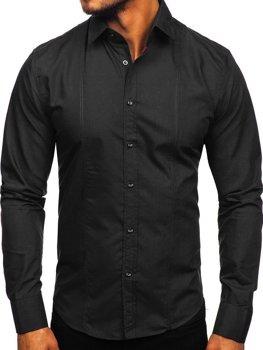 Čierna pánska elegantná košeľa s dlhými rukávmi BOLF 6944