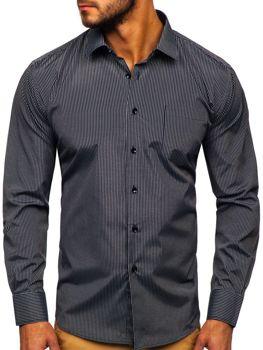 Čierna pánska elegantná prúžkovaná košeľa s dlhými rukávmi Bolf NDT10