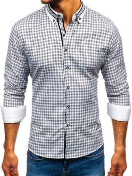 Čierna pánska károvaná košeľa s dlhými rukávmi BOLF 8808