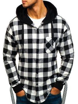 Čierna pánska kombinovaná mikina - košeľa BOLF 7459