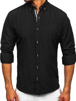 Čierna pánska košeľa s dlhými rukávmi Bolf 20717
