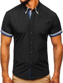 Čierna pánska košeľa s krátkymi rukávmi BOLF 2911