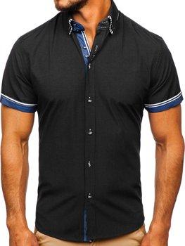 Čierna pánska košeľa s krátkymi rukávmi Bolf 2911-1