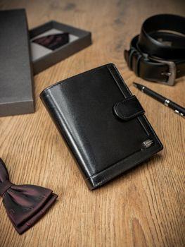 Čierna pánska kožená  peňaženka 371