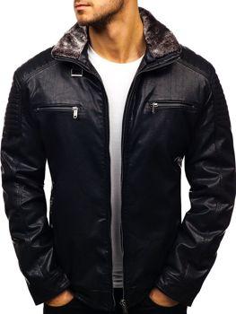 Čierna pánska koženková bunda BOLF EX832 76d3e8b39be
