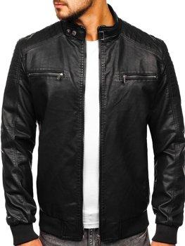 Čierna pánska koženková bunda Bolf 2001