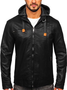 Čierna pánska koženková bunda Bolf EX892