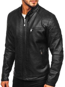 Čierna pánska koženková motorkárska bunda Bolf 88902