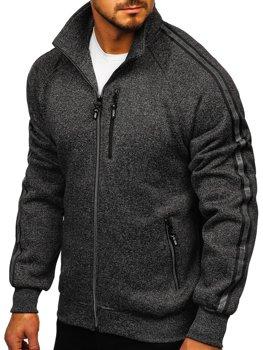 Čierna pánska mikina na zips bez kapucne Bolf TC1001