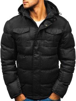 Čierna pánska prešívaná športová zimná bunda Bolf AB104