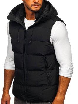 Čierna pánska prešívaná vesta s kapucňou Bolf1189