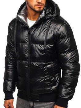 Čierna pánska prešívaná zimná bunda Bolf 92556