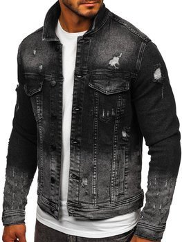 Čierna pánska rifľová bunda Bolf 6614G