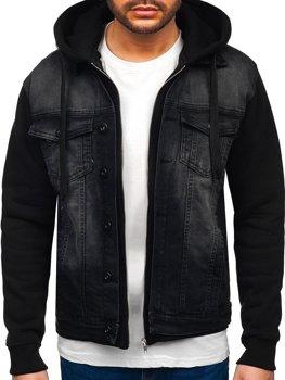 Čierna pánska rifľová bunda s kapucňou Bolf 10350