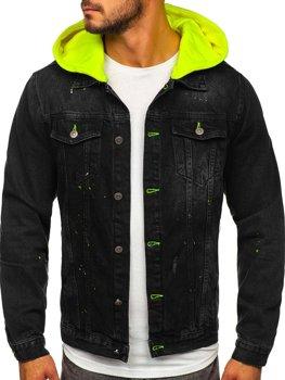 Čierna pánska rifľová bunda z kapturem Bolf 1-2