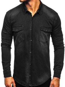 Čierna pánska rifľová košeľa s dlhými rukávmi Bolf 2063
