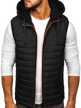 Čierna pánska vesta s kapucňou Bolf 6102