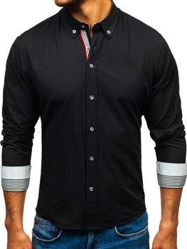 Čierna pánska vzorovaná košeľa s dlhými rukávmi BOLF 8843