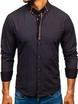 018b876c8b0c Čierna pánska vzorovaná košeľa s dlhými rukávmi BOLF 8844A