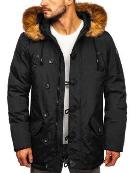Čierna pánska zimná bunda parka BOLF 1888
