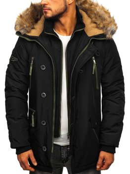Čierna pánska zimná bunda parka Bolf 1045A