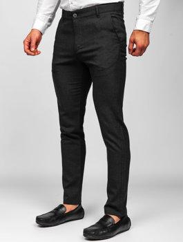 Čierne pánske látkové chinos nohavice Bolf 0016