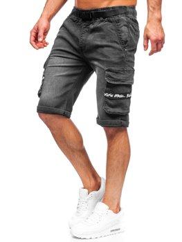 Čierne pánske riflové kapsáčové šortky Bolf K15008-2
