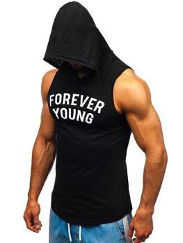 Čierne pánske tričko bez rukávov s potlačou a kapucňou BOLF 1286