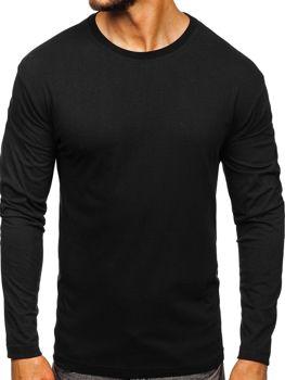 Čierne pánske tričko s dlhými rukávmi bez potlače Bolf 1209