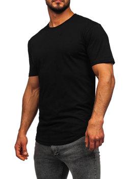 Čierne pánske tričko s dlhými rukávmi bez potlače Bolf 14290