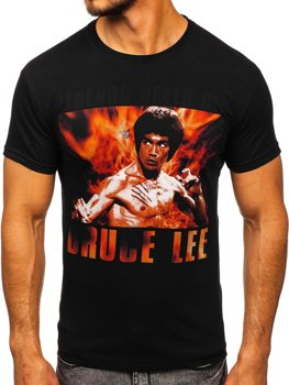 Čierne pánske tričko s potlačou BOLF 001
