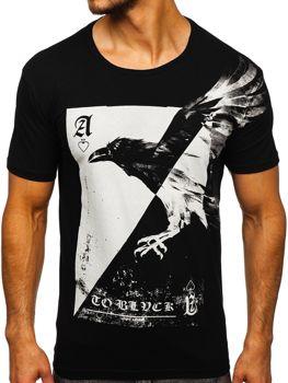 Čierne pánske tričko s potlačou BOLF 181210