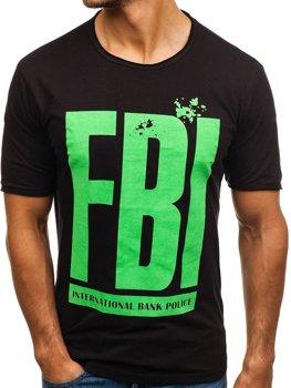 Čierne pánske tričko s potlačou BOLF 6295