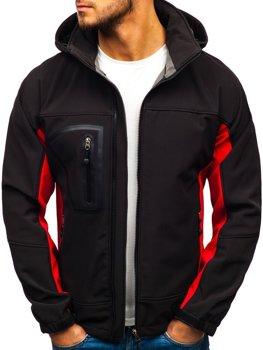 Čierno-červená pánska softshellová bunda BOLF T019