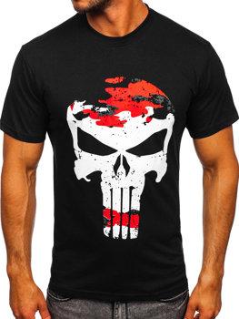 Čierno-červené pánske tričko s potlačou Bolf 2098