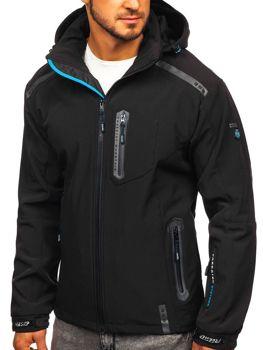 Čierno-modrá pánska softshellová bunda Bolf A5526