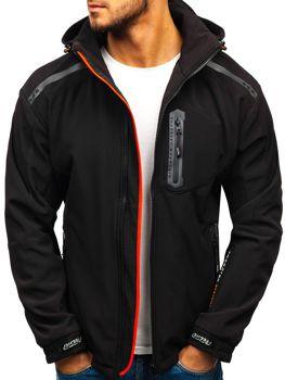 Čierno-oranžová pánska softshellová bunda BOLF A5526