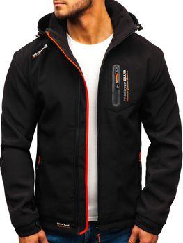 Čierno-oranžová pánska softshellová bunda BOLF P5608