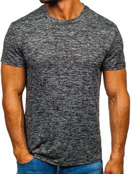 Čierno-šedé pánske tričko bez potlače Bolf S01