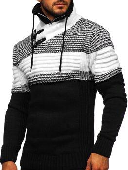 Čierný hrubý pánsky sveter zo stojačikom Bolf 2002