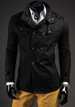 Čierny pánsky plášť BOLF 8857B 152ffd9b415