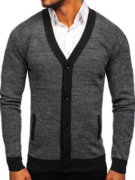 Čierny pánsky sveter so zapínaním Bolf 8122