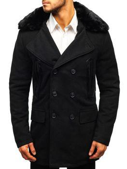 Čierny pánsky zimný kabát BOLF 88872 bb351cbc518