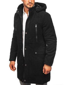 Čierny pánsky zimný kabát s kapucňou Bolf 88873